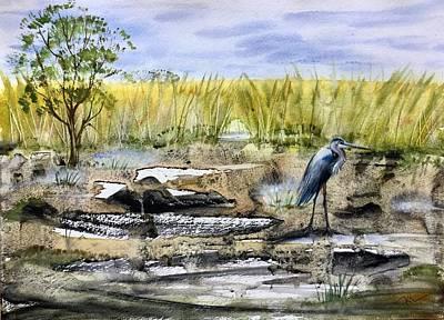 Painting - The Blue Egret by Katerina Kovatcheva