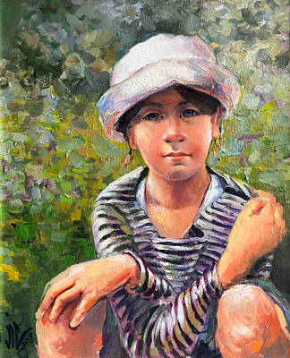 Painting -  The Blue-eyed Little Girl by Vali Irina Ciobanu