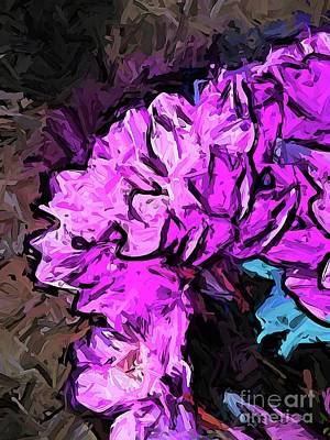 Digital Art - The Blue Flower Behind The Pink Flowers by Jackie VanO