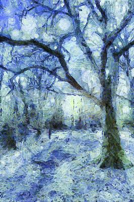 Impressionism Mixed Media - The Blue Forest Art by David Pyatt