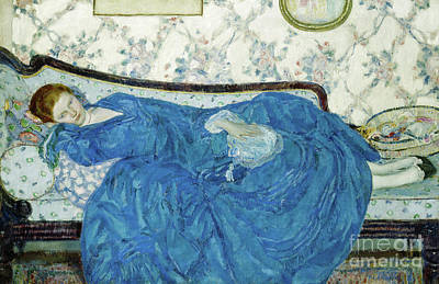 Gown Painting - The Blue Gown, 1917  by Frederick Carl Frieseke
