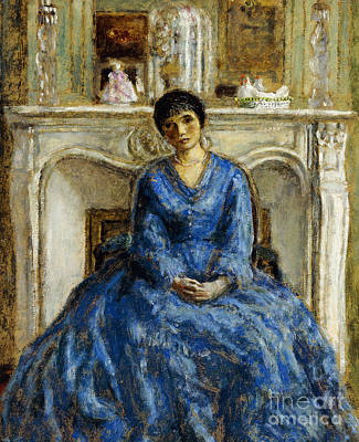Sadness Painting - The Blue Gown by Frederick Carl Frieseke