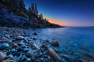 Maine Beach Photograph - The Blue Hour On Little Hunter's Beach by Rick Berk