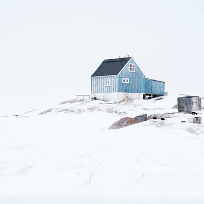 Greenland Photograph - The Blue House At Oqaatsut by Janet Burdon