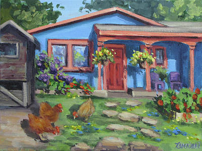 Painting - The Blue House by Karen Ilari