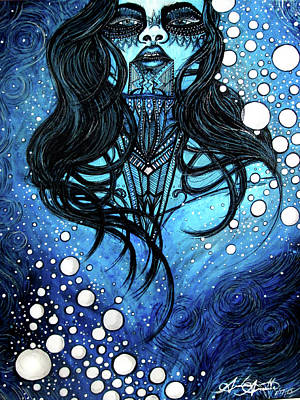 Archetype Drawing - The Blue Lady by Andrea Arnette