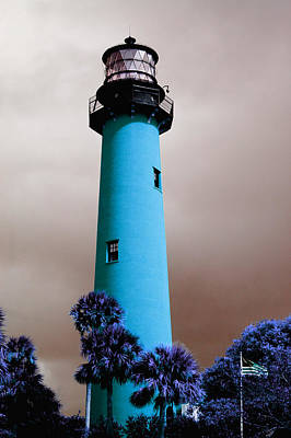 Art Print featuring the photograph The Blue Lighthouse by Artistic Panda