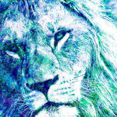 Amazon.com Mixed Media - The Blue Lion by Stacey Chiew