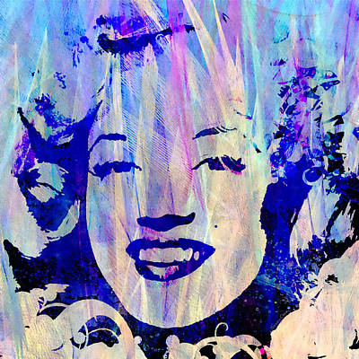 Sex Symbol Mixed Media - The Blue Marilyn by Stacey Chiew