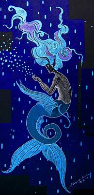 Impressionist Mixed Media - The Blue Mermaid  by Dwayne Hamilton