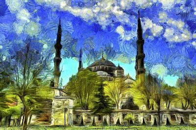 Mixed Media - The Blue Mosque Istanbul Van Gogh by David Pyatt