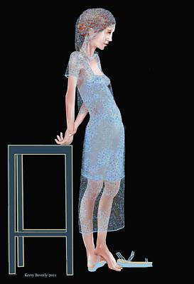 Digital Art - The Blue Outfit by Kerry Beverly