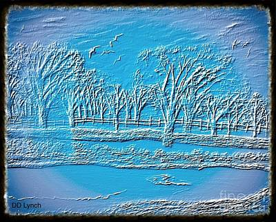 Fence Drawing - The Blue Parkway by Debra Lynch
