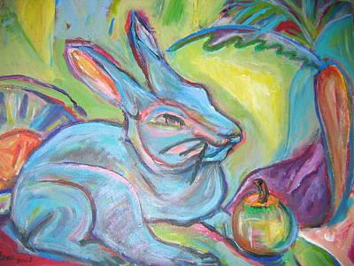The Blue Rabbit Art Print by Marlene Robbins