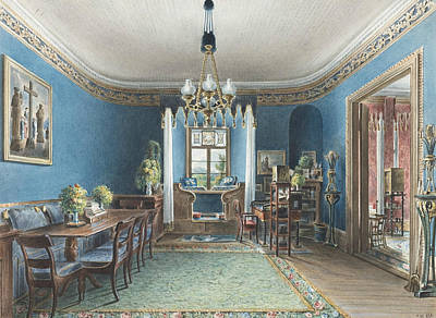 Drawing - The Blue Room, Schloss Fischbach by Friedrich Wilhelm Klose