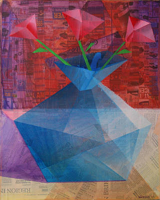 Art Print featuring the painting The Blue Rose Vase - Mixed Media by Mark Webster
