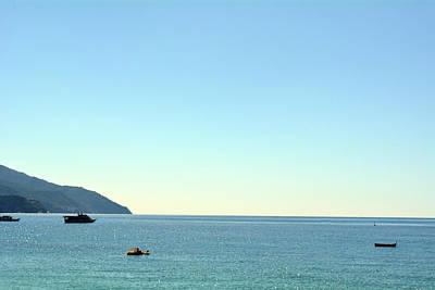 Park Portofino Italy Photograph - The Blue Sea With Ships From Portofino by Oana Unciuleanu