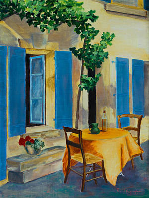 Wine-bottle Painting - The Blue Shutters by Elise Palmigiani