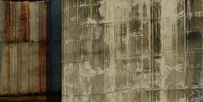 Photograph - The Blue Stripe On Silo Wall by Nadalyn Larsen