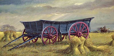 Shire Horse Painting - The Blue Wagon by Dudley Pout
