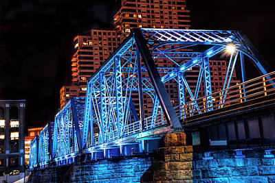 Photograph - The Blue Walking Bridge From The River Bank Below At Night by Randall Nyhof
