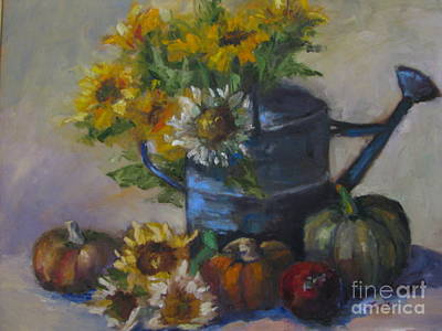 Painting - The Blue Watering Can by Sharon Franke