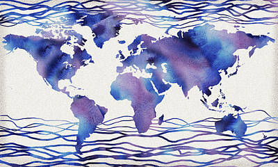 Painting - The Blue Wave Watercolor World Map by Irina Sztukowski