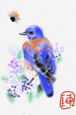 Digital Art - The Bluebird Sings  by Debbi Saccomanno Chan