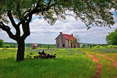 Old Country Roads Photograph - The Bluebonnet House by Linda Unger