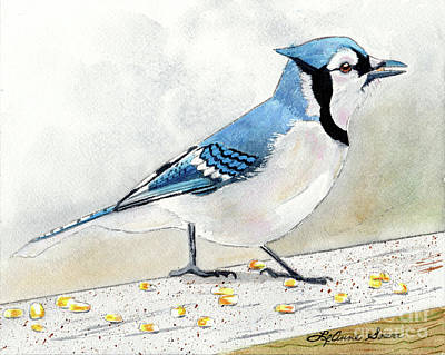 Painting - The Bluejay, Bird Painting, Bluejay Painting, Bird Print, Bird Painting by LeAnne Sowa
