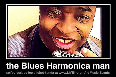 Photograph - the Blues Harmonica man by Teo SITCHET-KANDA