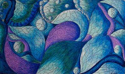 Colored Pencil Abstract Drawing - The Blues by Megan Walsh