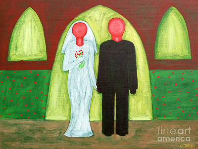 Abstract People Painting - The Blushing Bride And Groom by Patrick J Murphy