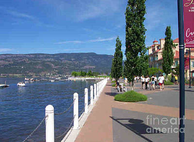 The Boardwalk In Kelowna   Art Print by Rod Jellison