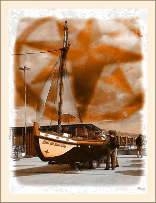 Abstract Graphics - The Boat And The Windrose by Daniel Arrhakis