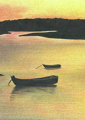 Drawing - The Boat Launch - Part A by Troy Levesque