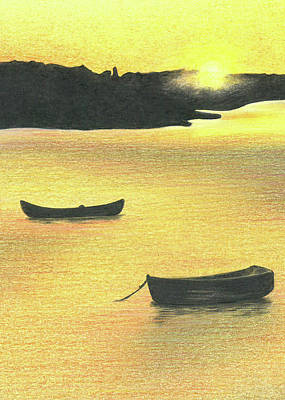 Drawing - The Boat Launch - Part B by Troy Levesque