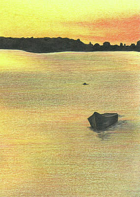 Drawing - The Boat Launch - Part C by Troy Levesque