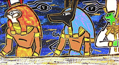 Painting - The Boat Of Ausar Passing Through The Underworld by Odalo Wasikhongo