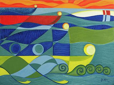 Joseph Edward Allen Painting - The Boat Race by Joseph Edward Allen