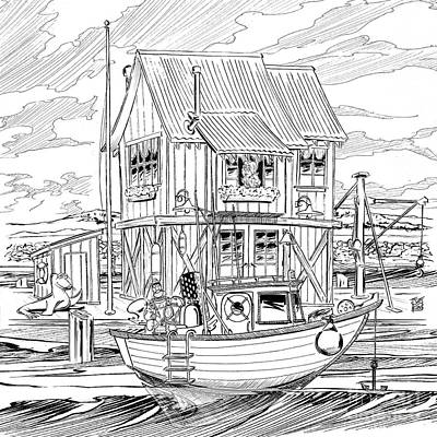 Ocean Front Landscape Digital Art - The Boathouse by Joe King