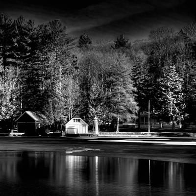 Winter Scene And Lake Photograph - The Boathouse On The Pond by David Patterson