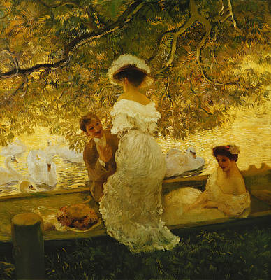 Victorian Era Painting - The Boating Trip by Gaston de Latouche