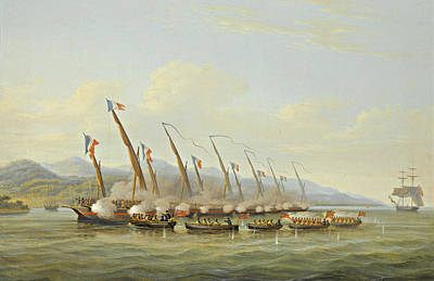 Painting - The Boats Of H.m.s Sloop Procris Engaging French Gunboats Off The Mouth Of The Indramayo Java by William John Huggins