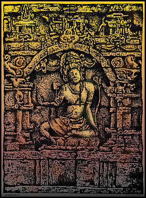 Buddhist Drawing - The Bodhisattva Samantabhadra Borobudur Java by Larry Butterworth