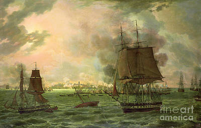 Bomber Painting - The Bombing Of Cadiz By The French  by Louis Philippe Crepin