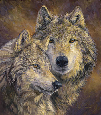 Gray Wolf Painting - The Bond by Lucie Bilodeau