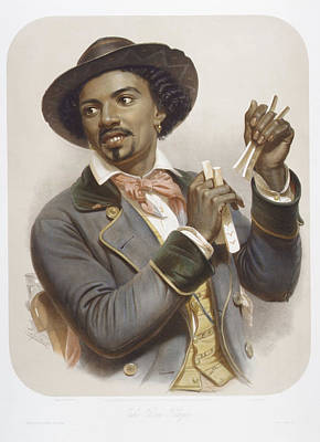 African-american Drawing - The Bone Player by Adolphe Lafosse