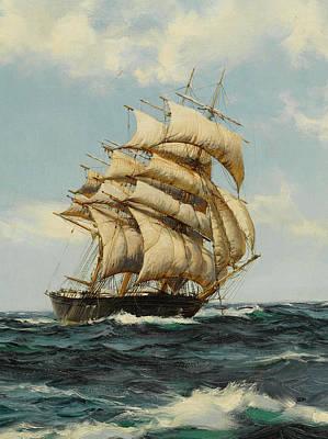 Calming The Storm Painting - The Bonnie Breeze - Detail  by Montague Dawson