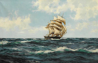 Calming The Storm Painting - The Bonnie Breeze by Montague Dawson